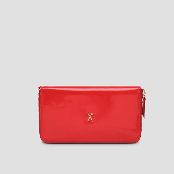 Easypass OZ Wallet Medium Patent Lipstick Red(+Gold Chain)