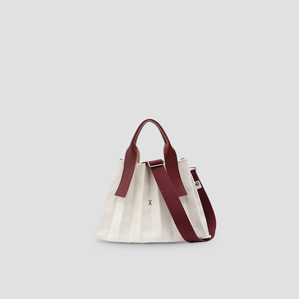 [문가영 착용]Lucky Pleats Canvas S Ivory_Russet Brown