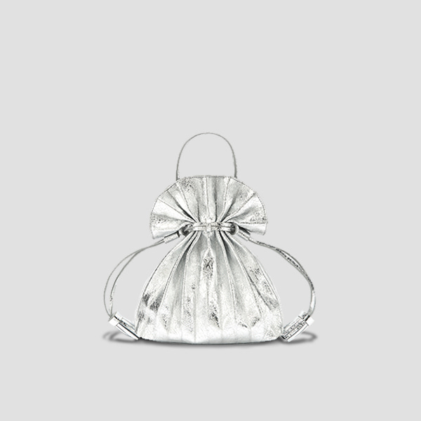 [재입고 예정] Lucky Pleats Crossbag Cracked Silver