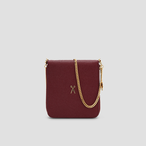 [5/6 예약배송]Easypass OZ Wallet Bolt With Chain Winger Wine