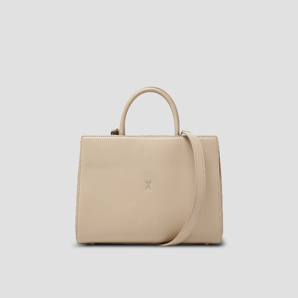 Lucky Pleats Tote M Ecru Beige