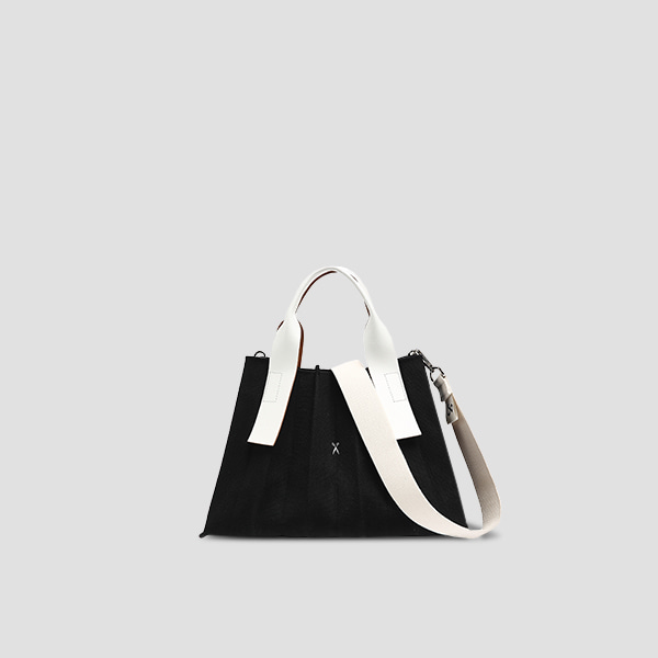 Lucky Pleats Canvas S Black_Ivory(+Webbing Strap)