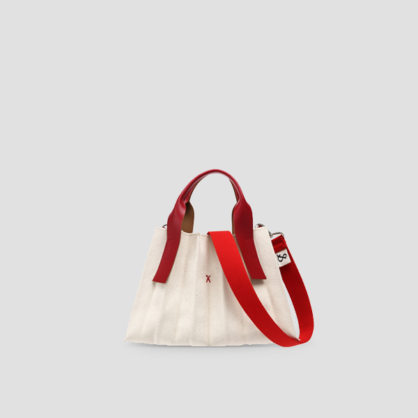 Lucky Pleats Canvas S Ivory_Lucky Red