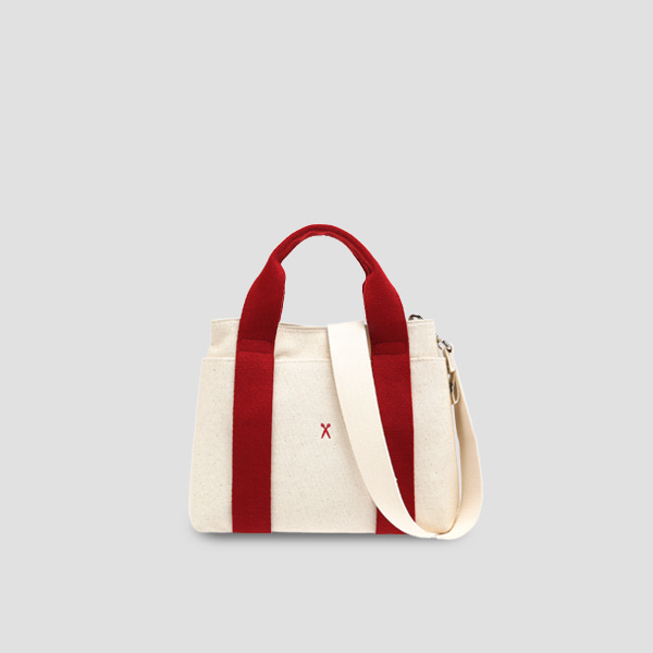 ※BESPOKE(자수)가능※Stacey Daytrip Tote Canvas S Ivory_Red