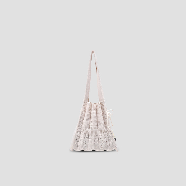Lucky Pleats Knit S Crochet Cream White