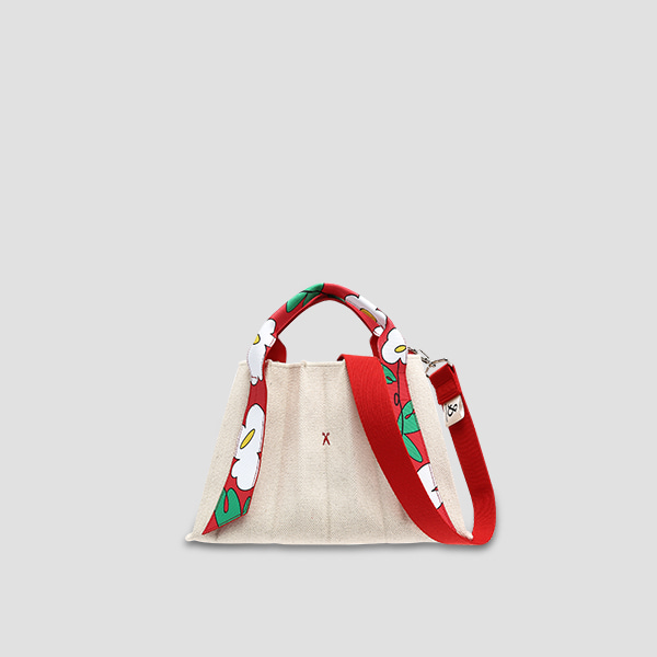 [예약배송 8/12]Lucky Pleats Canvas Flower S Ivory_Red
