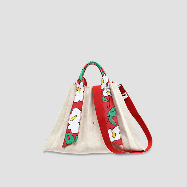 [예약배송 8/12]Lucky Pleats Canvas Flower L Ivory_Red