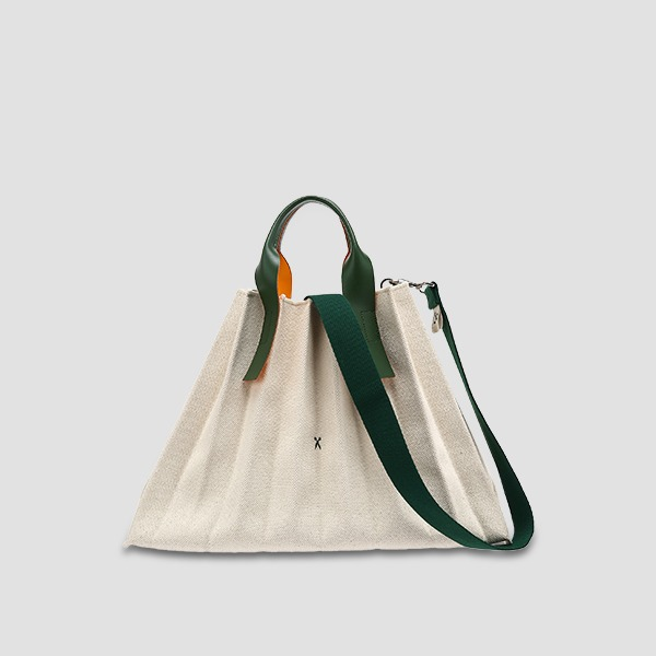 Lucky Pleats Canvas L Ivory_Green
