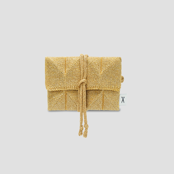 Lucky Pleats Knit Card Wallet Starry Gold