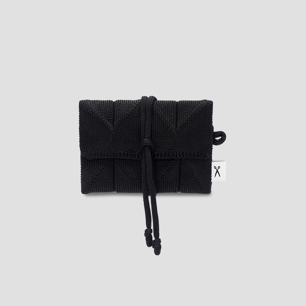 Lucky Pleats Knit Card Wallet Rich Black