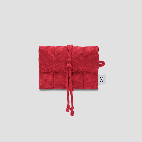 Lucky Pleats Knit Card Wallet Barbados Red