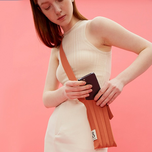 Lucky Pleats Knit Cellbag Burnt Peach