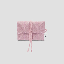 Lucky Pleats Knit Card Wallet Rosegold