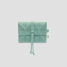Lucky Pleats Knit Card Wallet Basil